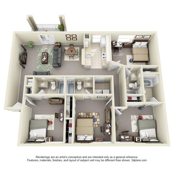 3d floor plan jpeg boardwalk apartments orlando apartments near ucf