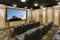 3-D Theater Room with Comfy Leather Viewing Chairs