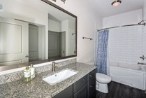 Frames Mirrors, European Shower Rod, and Subway Tile Surround in All Bathrooms
