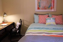 4x4: Bedroom A Is Fully Furnished with Stackable Dresser, Desk, Chair, and Full XL Bed with Tempu-Pedic Mattress